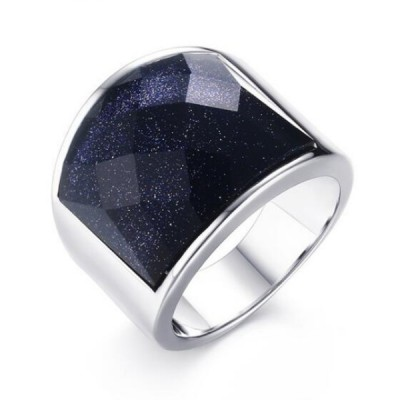 Titan Dark Navy Galaxy Silber Herrenring