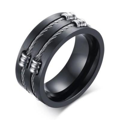 Titan Schwarze Steel Wire Herrenring