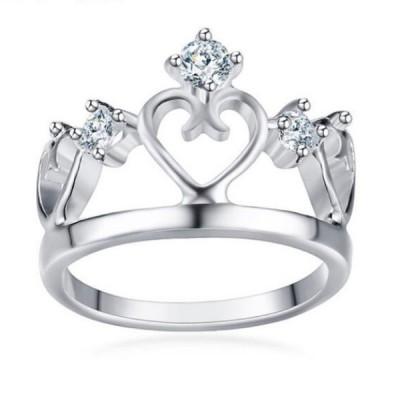 Titan Crown RundSchliff Weißemer Saphir Silber Versprechen Ringe Für Sie
