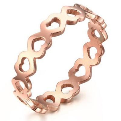 Titan RoséGelbgold Ausgehöhlte Herzversprechen Ringe For Her
