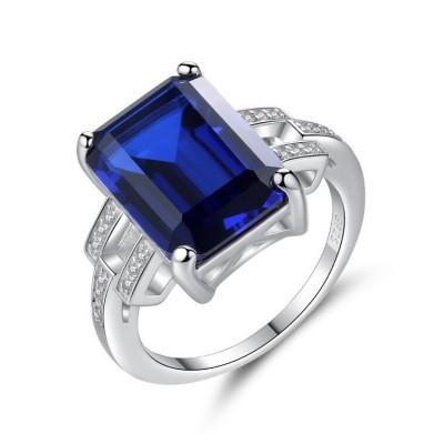 Smaragd Schliff Blau Saphir & Emerald 925 Sterling Silber Versprechen Ringe