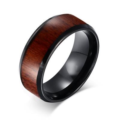 Schwarz Wolfram Wood Inlaid Hochzeitsband für Männer