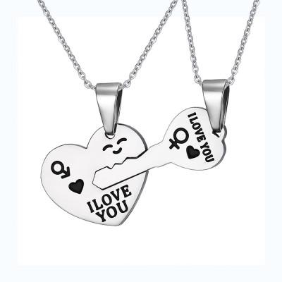 Herz und Schlüssel 925 Sterling Silber Halsschmuck