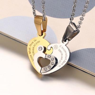 Herz Design Gelbgold 925 Sterling Silber Halsschmuck