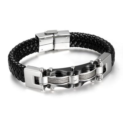 Schwarzes Leder 925 Sterling Silber Armbänder