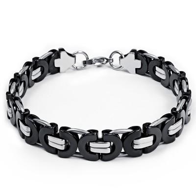 Schwarz und Silber Kette Design 925 Sterling Silber Armbänder