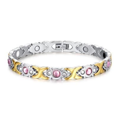 Rosa saphir Silber und Gelbgold 925 Sterling Silber Armbänder
