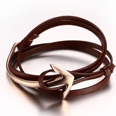 Scharlachrot Leder RoséGelbgold Anchor 925 Sterling Silber Armbänder