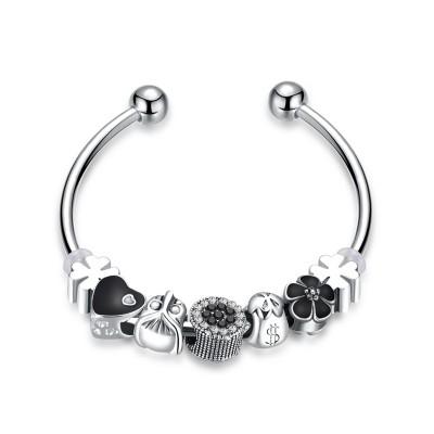 Weißemer und Schwarzer Saphir Silber Titan Armbänder