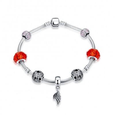 Zubehör für rote und rosa Flügel S925 Sterling Silber Armbänders