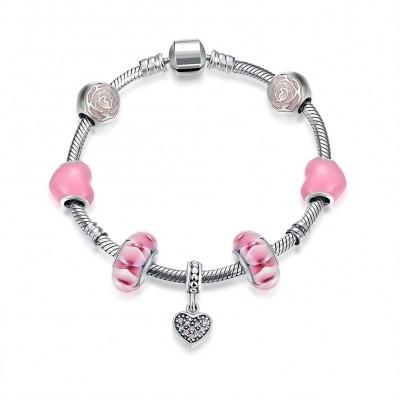 Rosa Rose Heart Anhänger S925 Sterling Silber Armbänders