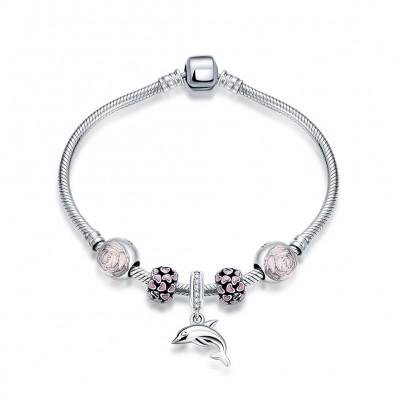 Rosa Hearts Blume Dolphin Anhänger S925 Sterling Silber Armbänders