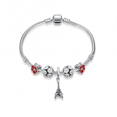Rote und Weißeme Blütenblätter Eiffelturm Anhänger S925 Sterling Silber Armbänders