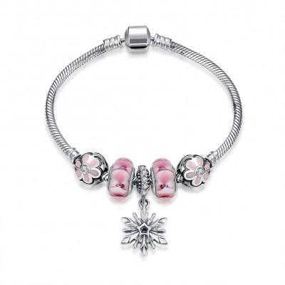 Rosa Blütenblätter Nizza Anhänger S925 Sterling Silber Armbänders