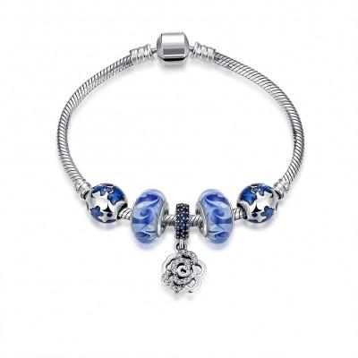 Blauer Zubehör Blumen Anhänger S925 Sterling Silber Armbänders