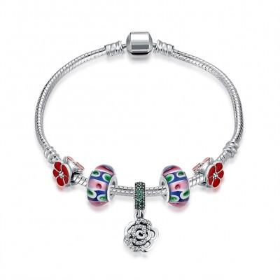 Rotes Zubehör Blumen Anhänger S925 Sterling Silber Armbänders