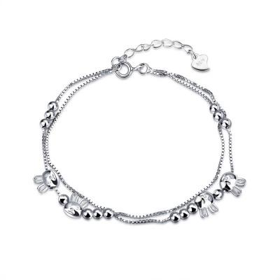 Süßer Hase Perlen Anhänger S925 Sterling Silber Armbänders