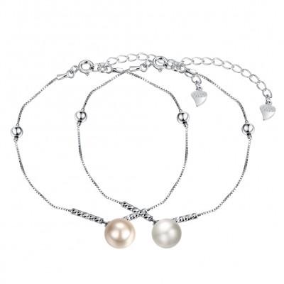 Weißem / Perle Rosa Perle S925 Sterling Silber Armbänders
