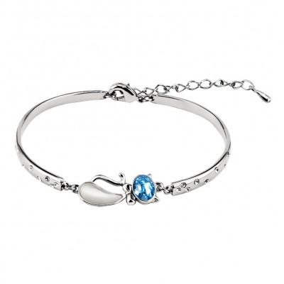 Ovale Schliff Aquamarine Silber Titan Bangles