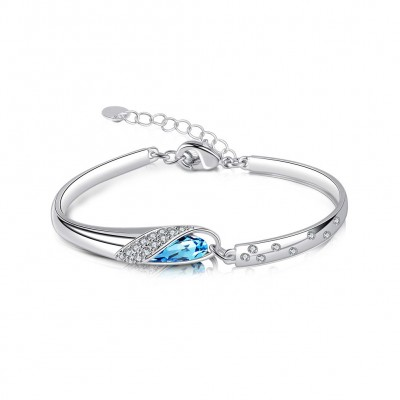 Wunderschöne Aquamarin Silber Titan Armreifen