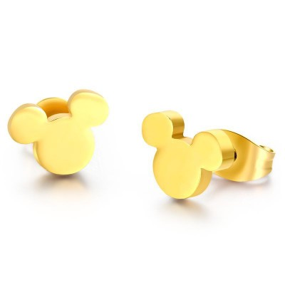 Mickey Design Gelbgold 925 Sterling Silber OhrRingee