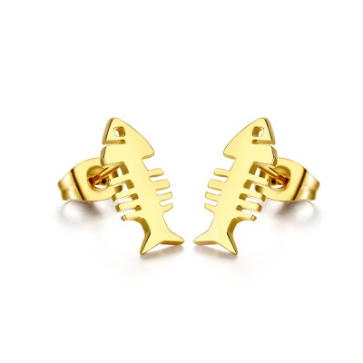 Fish Design Gelbgold 925 Sterling Silber OhrRingee