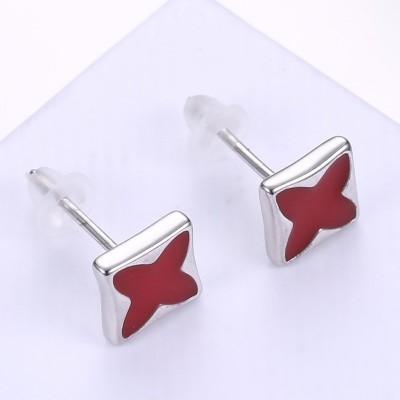 Vierpunktstern rot S925 Sterling Silber Ohrring