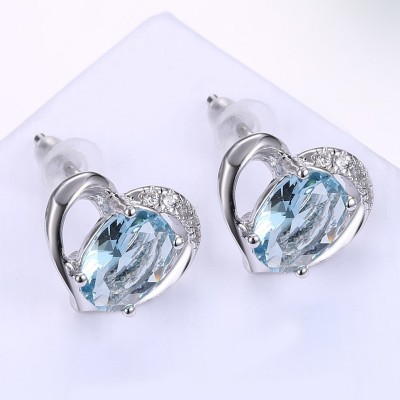 Ovale Schliff Aquamarine S925 Sterling Silber OhrRingee