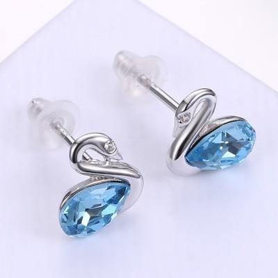 Swan Pear Schliff Aquamarine S925 Sterling Silber Ohrring