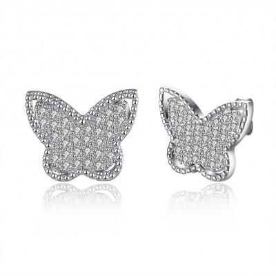 Schmetterling runder Schnitt Weißemer Saphir S925 Sterling Silber OhrRingee