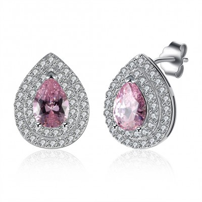 Birne geschnittener rosafarbener Saphir S925 Sterling Silber Ohrring