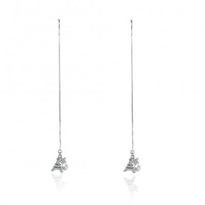 Eiffelturm Pearl Star S925 Sterling Silber Ohrring