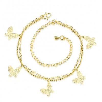 Schmetterlingsform Silber / Gelbgold Titan Fußkettchen