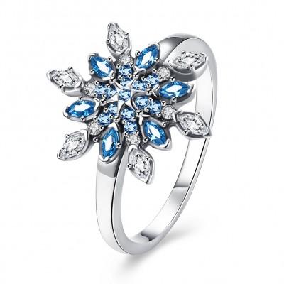 Marquise Schliff Aquamarin und Weißemer Saphir S925 Sterling Silber Ringe