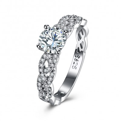 Weißemer Saphir S925 Sterling Silber Infinity Verlobungsringe