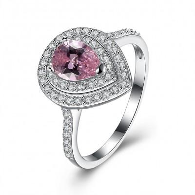 Birne geschnittener rosafarbener Saphir S925 Sterling Silber Halo Verlobungsringe