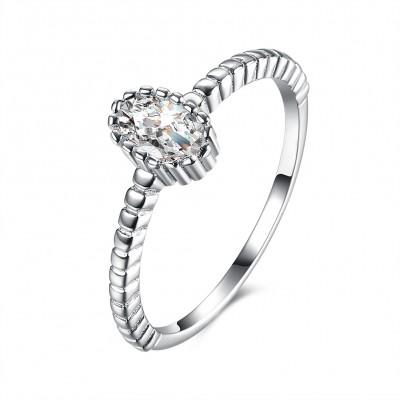 OvaleSchliff Weißemer Saphir S925 Sterling Silber Verlobungsringe