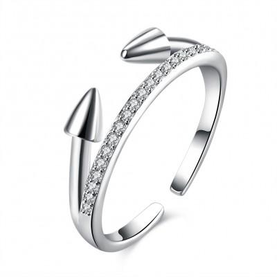 Runder Schliff aus Weißemem Saphir S925 Sterling Silber Versprechen Ringe