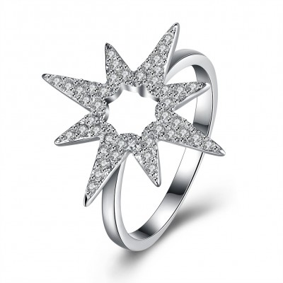Runder Schliff Weißemer Saphirstern S925 Sterling Silber Versprechen Ringe