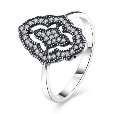 Runder Schliff Weißemer Saphir 925 Sterling Silber Versprechen Ringe