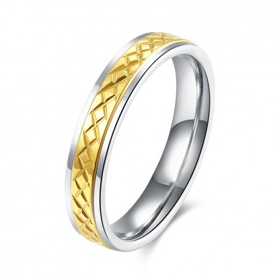Schöne Silber und Gelbgold Titan Bands Ringe für Damen
