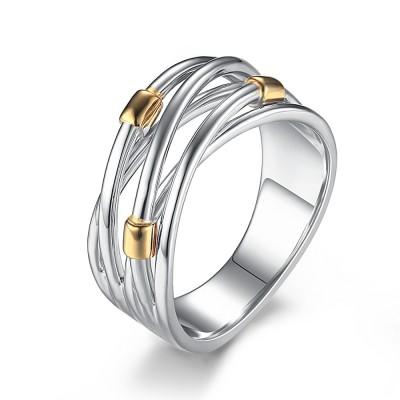 Ineinander verschlungene Sterling Silber Cocktail Ringe