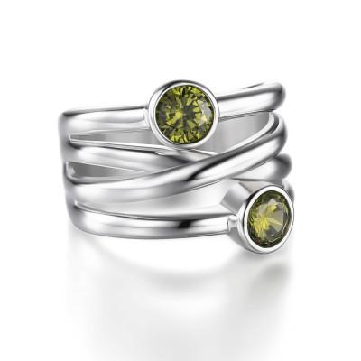 Runder Schliff Smaragd 925 Sterling Silber Versprechen Ringe für Sie