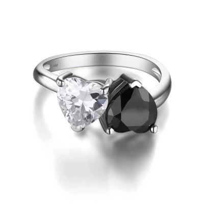 Herz Schliff Schwarz 925 Sterling Silber Versprechen Ringe für Sie