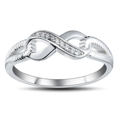 925er Sterling Silber Runder Schliff Weißemer Saphir Versprechen Ringe für Sie