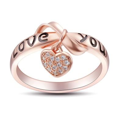 Bowknot Design Love You 925 Sterling Silber Damenring