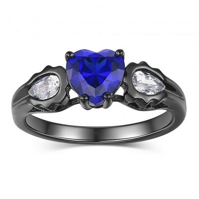 Herz Schliff Blau Saphir S925 Sterling Silber Versprechen Ringe für Sie