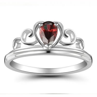 Crown Rubin Heart Style 925 Sterling Silber Damenring