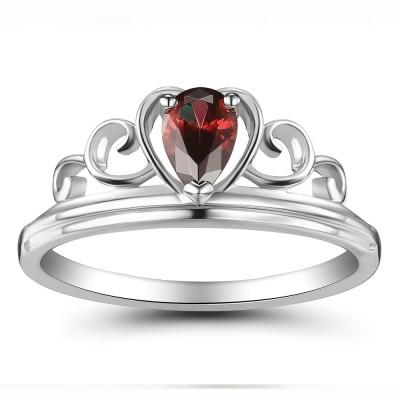 Crown Rubin Heart Style 925 Sterling Silber Damenring