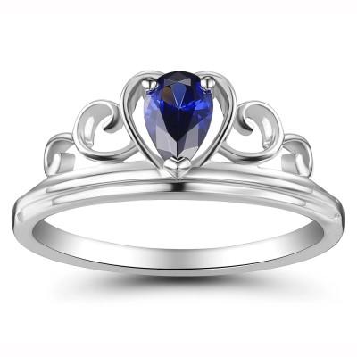 Crown Pear Schliff 925 Sterling Silber Damenring